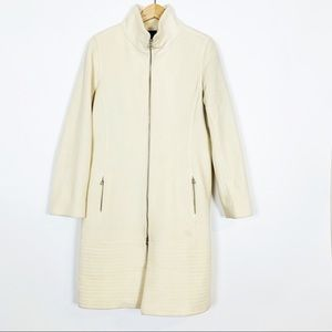 Moda International Ivory Wool Trench Topper Coat